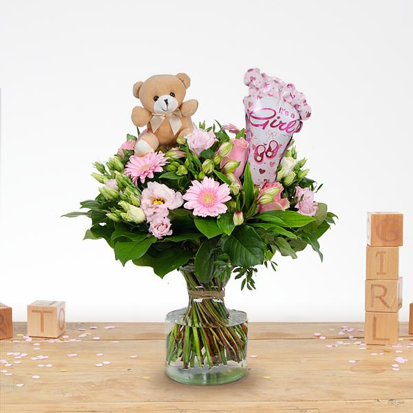 Bouquet de naissance Nola avec ballon et ourson en peluche Moyen