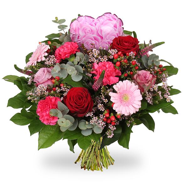 Bouquet Emma grand + coeur rose grand