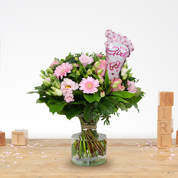 Bouquet de naissance Nola avec ballon Moyen