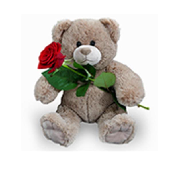 Ours marron (45 cm) avec rose rouge