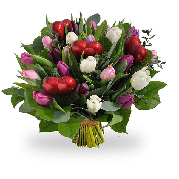 Tulipes pastelles avec coeurs grand