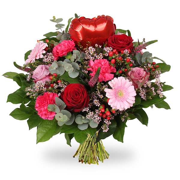 Bouquet Amour rouge coeur grand