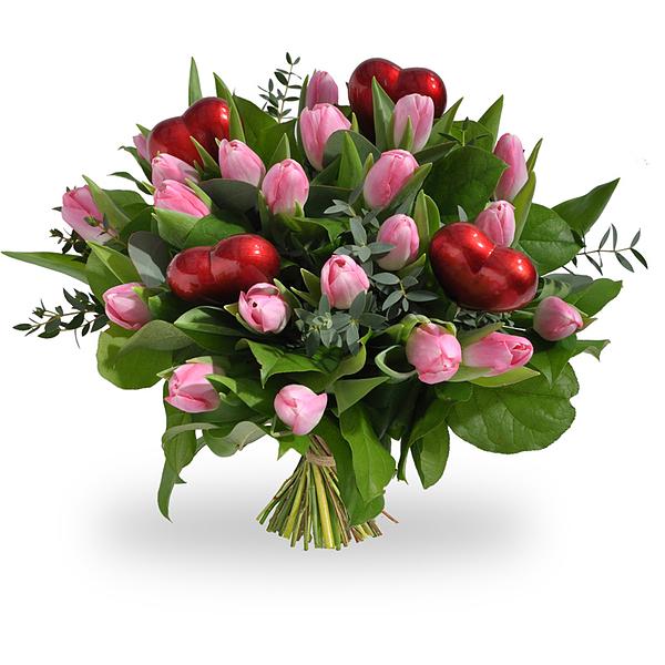 Tulips rose avec les coeurs commande et la livraison for Livraison tulipes